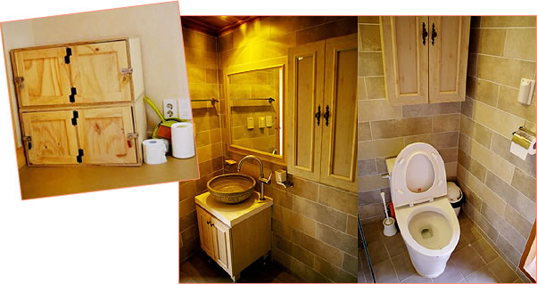 게스트하우스 시설(개인사물함, 화장실 겸 샤워실)